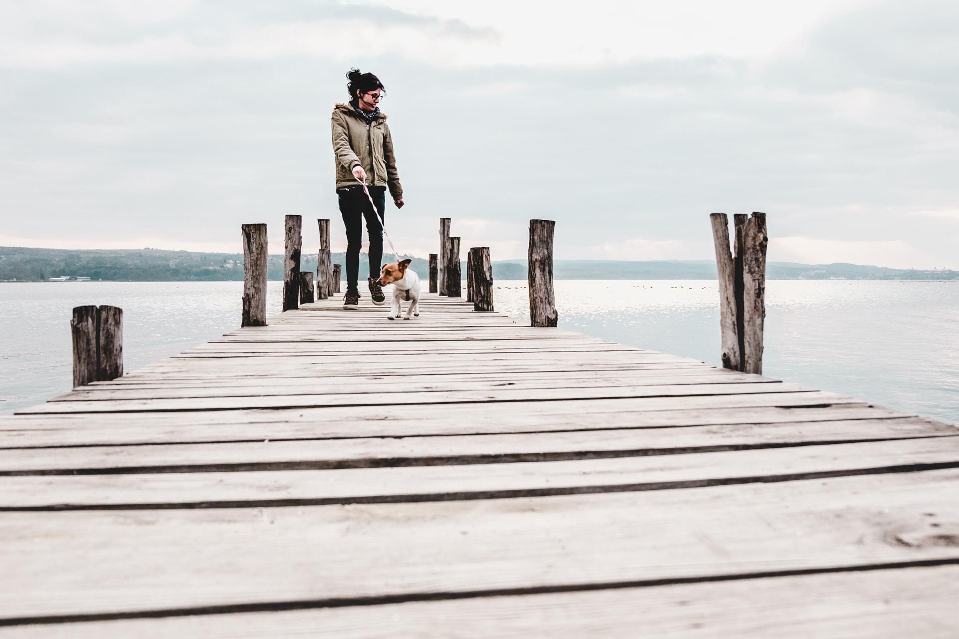 rapariga no pontão a passear um cão