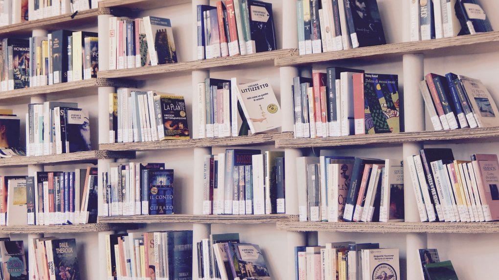 livros numa estante