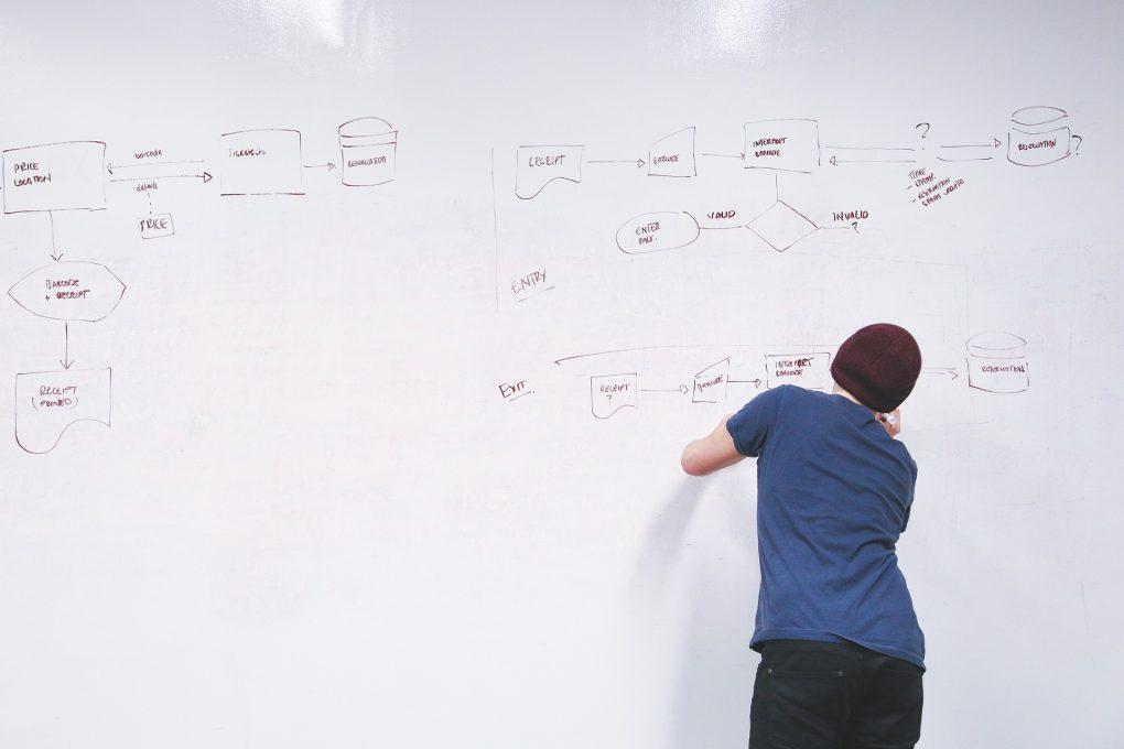 rapaz de gorro a escrever um esquema num quadro branco