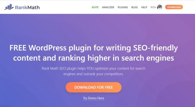 website de rank math um plug in de seo para blogs