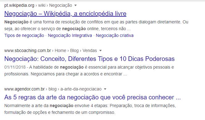 pesquisar uma keyword resultados do Google ao pesquisar negociação