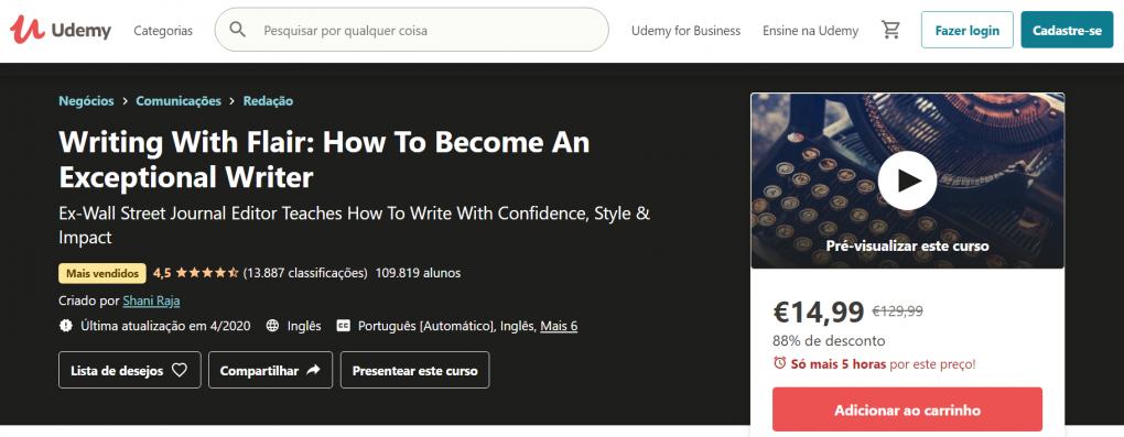 melhor curso de escrita writing with flair how to become an exceptional writer