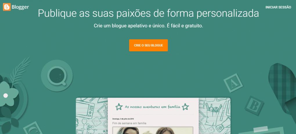 plataformas para criar um blog blogger da google homepage