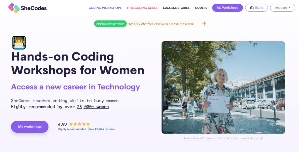 aprender a programar com shecodes workshops website