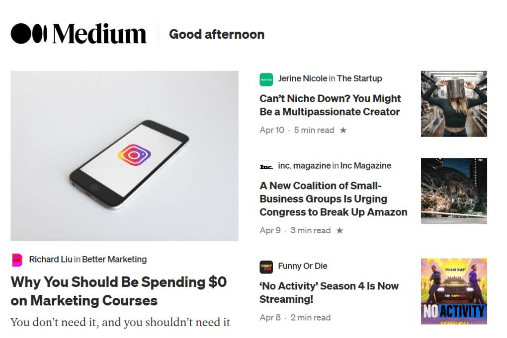 escrever no medium website homepage