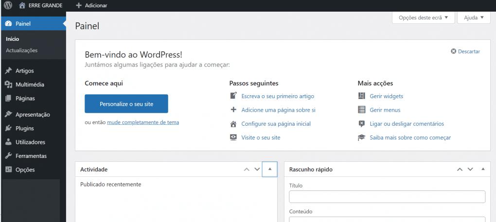 usar o wordpress visao simples de um backoffice recem criado