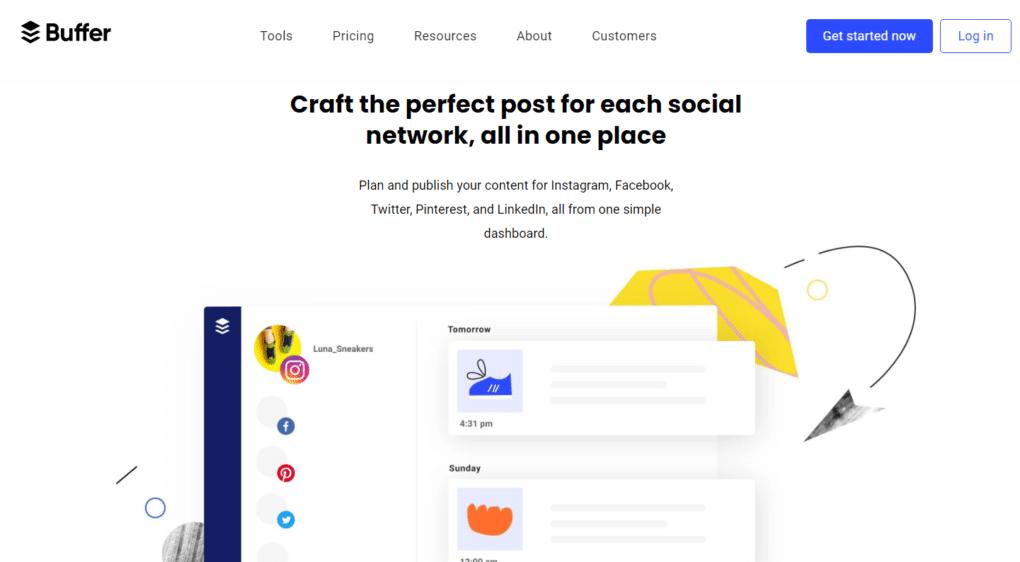 ferramentas para agendar posts nas redes sociais exemplo buffer
